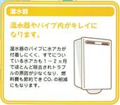 温水器 オンス機やパイプ内がキレイになります。